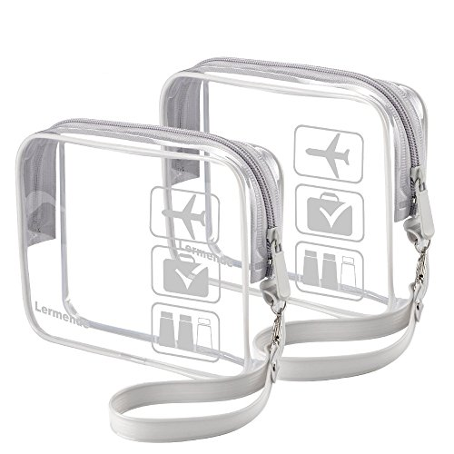 2pcs/pack Lermende Clear Toiletry Bag TSA Approved Quart Sized Travel Airport Airline Compliant Bag Makeup Organizer
