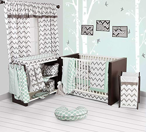 Bacati Ikat Chevron Muslin 10 Piece Crib Set with Bumper Pad, Mint/Grey