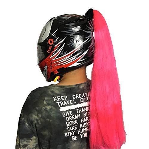 (DOSEEI Helmet Pigtails/Helmet Ponytail Motorcycle Bike Helmet Braids Helmet Hair Helmet Wigs Decoration 1 pcs Pink)