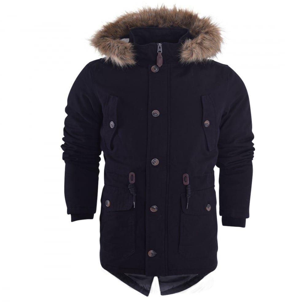 Island Trading Mens Heavy Weight Cotton Parka Winter Coat Fur Fishtail Long Jacket