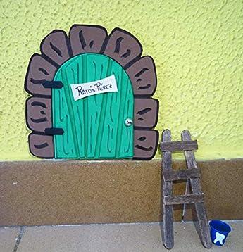 Puerta mágica del Ratoncito Pérez. Incluye escalera y cubito para diente.: Amazon.es: Handmade