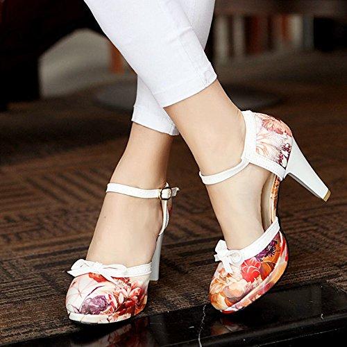 de zapatos encantan impresiones moda Las tacón mujeres de alto corte las hebilla rojo Carolbar de arco w6HTpq8S