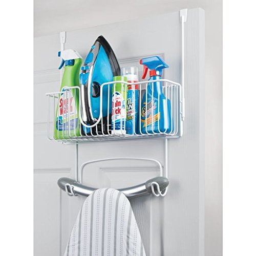 mDesign Metal Wire Over Door Hanging Ironing Board Holder Large Storage Basket - Holds Iron, Board, Spray Bottles, Starch, Fabric Refresher Laundry Rooms - Durable Steel, White