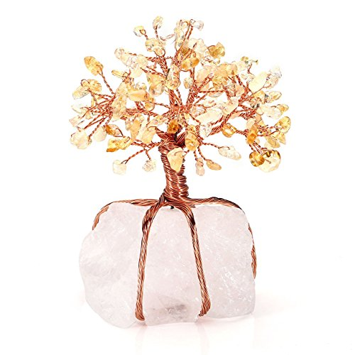 Jovivi Natural Citrine Tree Money Crystal Quartz Money Tree Feng Shui Tree of Life Ornament Reiki Crystals Office Table Decoration for Living Room Wealth and Luck ()