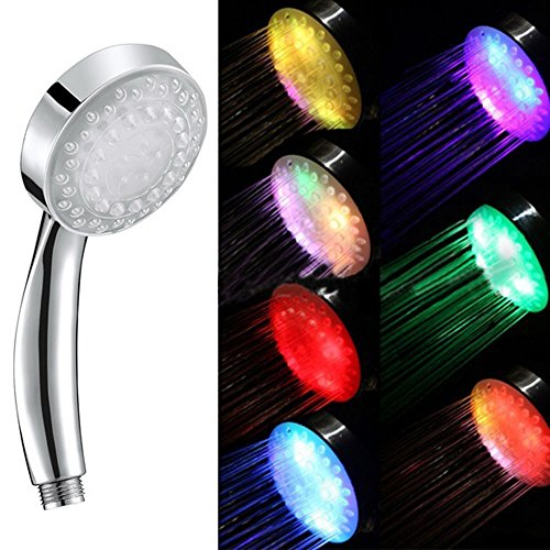 Your Supermart 7Color Changing 4Led Luminous Light-up Anion SPA Bathroom ShowerHead Filter