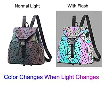 Geometric Backpack Luminous Backpacks Holographic Reflective Bag Shard Lattice Luminous Rucksack Lingge NO.2