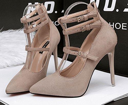 apricot Women's Unique Stilettos Court Strap With High Faux Shoes Aisun Ankle Suede OPdwP1q