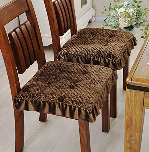 4 Pack Soft Memory Foam Nonslip Dining Chair Pads 15.8″ x15.8″ Kitchen Chair Seat Cushions with Ties (Coffee)