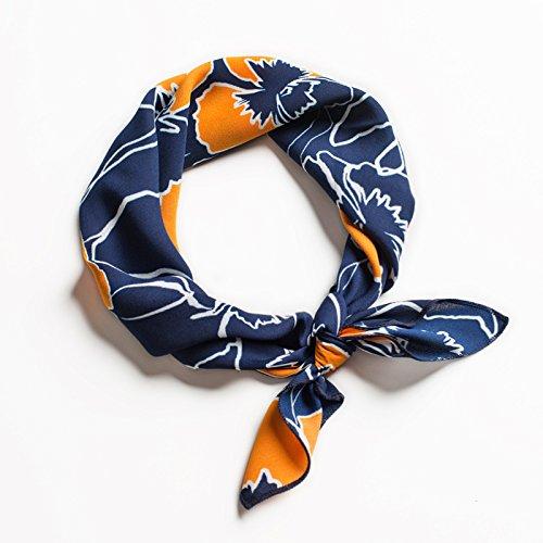 FLYRCX Nouveau style de soie ruban de cheveux mesdames doux et confortable foulard imprimé 53cmx53cm