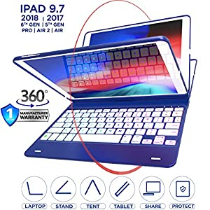 iPad Keyboard Case for iPad 2018 (6th Gen) - iPad 2017 (5th Gen) - iPad Pro 9.7 - iPad Air 2 & 1 - Thin & Light - 360 Rotatble - Wireless/BT - Backlit 10 Color - iPad Case with Keyboard (True Blue)