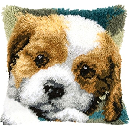 New Latch Hook Kit Animal Cushion Cover DIY Craft Needlework Crocheting Cushion Embroidery Cute Dog BZ744]()