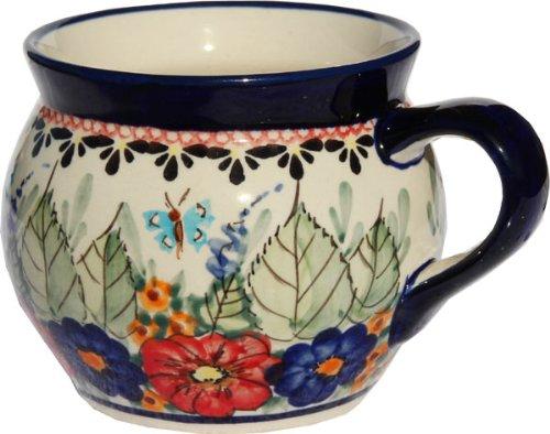 - Polish Pottery Potbelly Coffee Mug 16 Oz. From Zaklady Ceramiczne Boleslawiec #910-149 Art Unikat Signature Pattern, Capacity: 16 Oz.