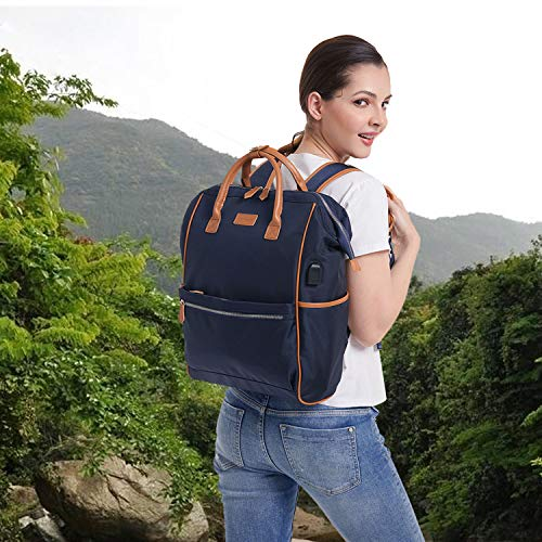 Desanissy Small Outdoor Doctor Style Travel Backpack Work Pack Casual Day Bag Waterproof Travel Rucksack Urban Day Backpack for Women Dark Blue + Brown Trim | Big Size ()