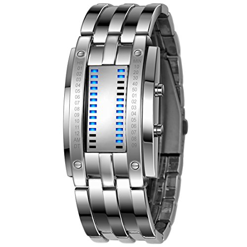 Gets Unisex Binary Watch Unique Led Illuminator Wrist Watches Creative Stainless Steel Binary Sports Watch (Silver-6.7 inch,6.7 - Men Binary Watches For