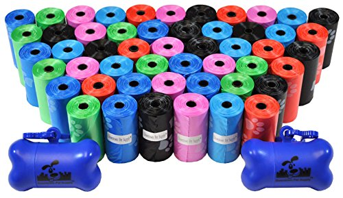 Downtown Pet Supply Dog Pet Waste Bags with Two Free Leash Clips and Dispensers, 1000 Bags, Rainbow with Paw Prints