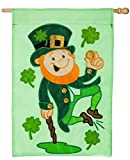 Evergreen Heel Clicking Leprechaun Applique House Flag, 29 x 43 inches For Sale