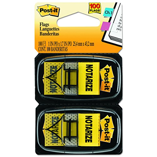 Post-it Standard Page Flags in Dispenser  1in Wide, Yellow