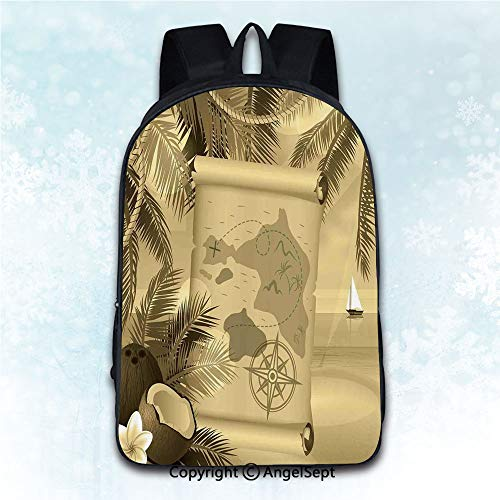 Multi-Function Stylish Anti-Theft Rucksack,Island Map Monochrome Retro Treasure Map on a Tropical Escape dy Beach with Palms Exotic Sepia 16 inches,Mobile Phone Messenger Bags