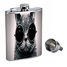 8oz Hip Flask Stainless Steel with Funnel and Funny Cat Design Highest Quality Is a Great Accessorie That Also Compliments a Funny Cat T-shirt,for Men and Women, Also Long Sleeve and Large Size Shirt by Perfection In Style