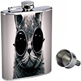 8oz Hip Flask Stainless Steel with Funnel and Funny Cat Design Highest Quality Is a Great Accessorie That Also Compliments a Funny Cat T-shirt,for Men and Women, Also Long Sleeve and Large Size Shirt
