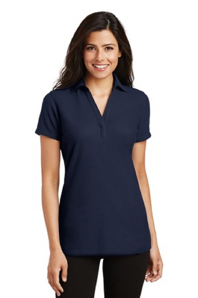 Port Authority Ladies Silk Touch Y-Neck Polo-Navy-Large