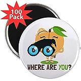 CafePress - Emoji Peach Where Are You? - 2.25'' Magnet (100 pack)