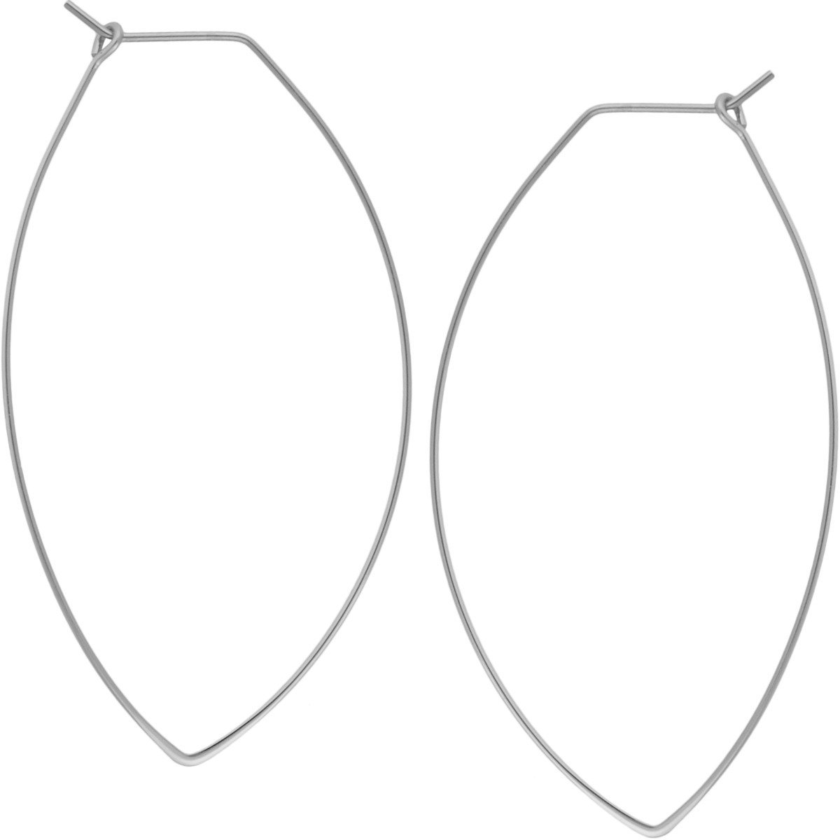 Marquise Threader Big Hoop Earrings - Lightweight Oval Leaf Statement Drop Dangles, Marquise 925 White, Sterling Silver-Electroplated, Hypoallergenic, by Humble Chic NY