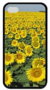 Animate Sunflower Field DIY Rubber Black iphone 4/4s Case Perfect By Custom Service