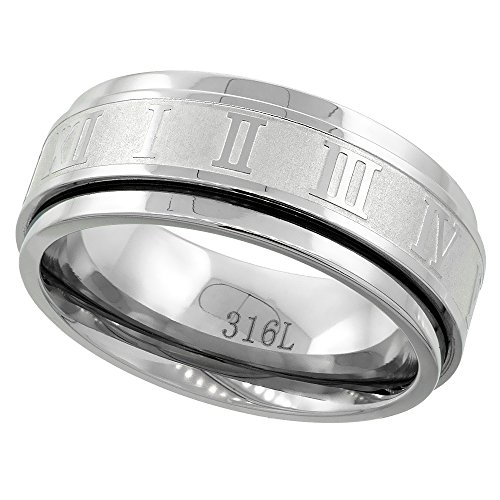 Surgical Stainless Steel 8mm Roman Numerals Spinner Ring Wedding Band, size ()