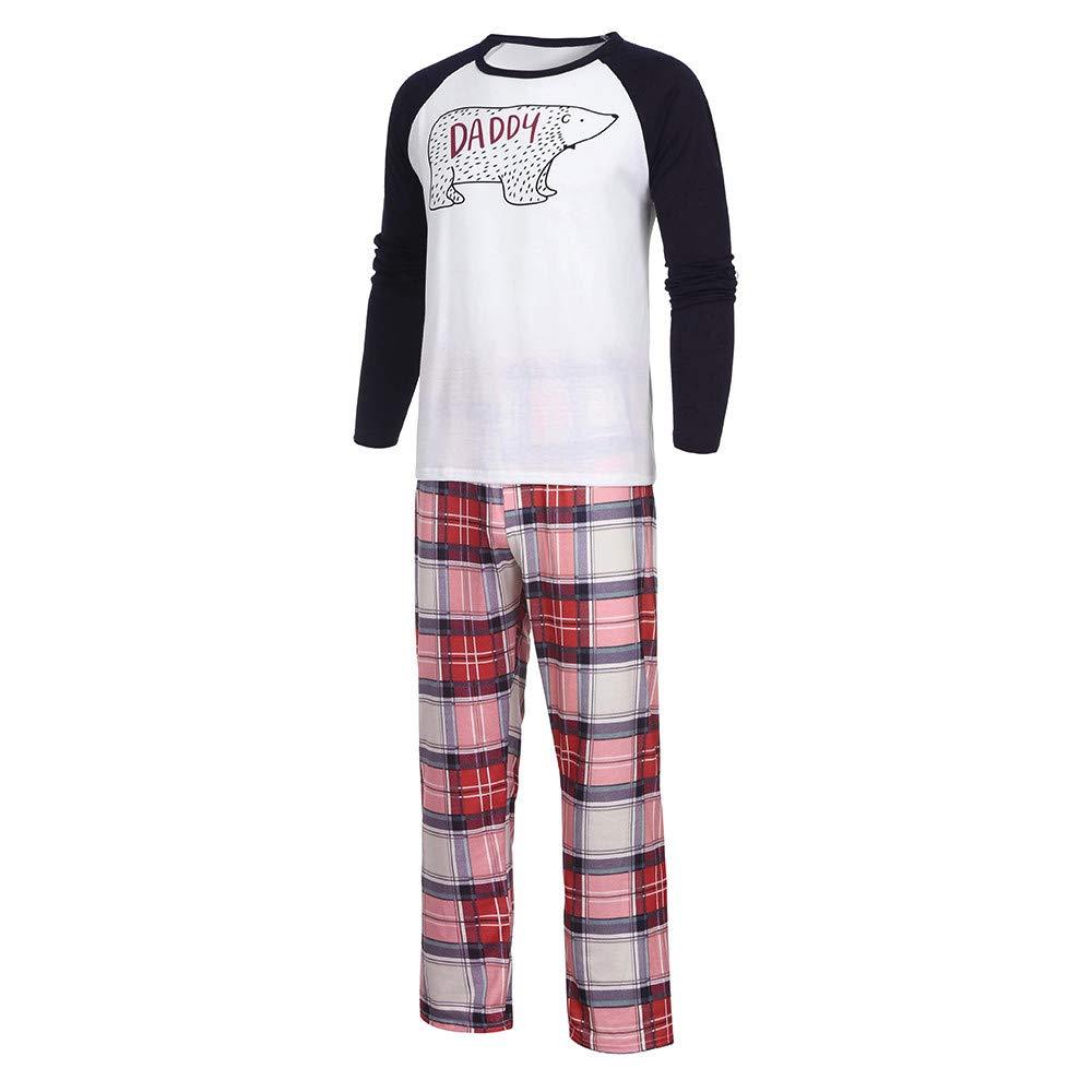 Kirbyates Christmas Family Clothes Pajamas Cartoon Bear Blouse Plaid Pants  Sleepwear Matching Christmas Sets at Amazon Men s Clothing store  b63fe8ef1