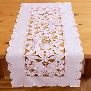 Stickerei und Cutwork Tischläufer 40x90 cm Schmetterlinge in zartrosa Kurbel
