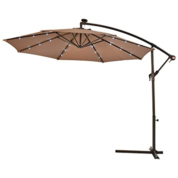 Perfect Patio Umbrella 10u0027 Hanging Solar LED Sun Shade Offset Market With Base Tan