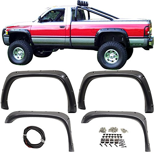 Fender Fits 1994-2001 Ram1500 2500 3500 | Pocket Style Smooth BLK ABS Rear &Front 4PC Fender Flares by IKON MOTORSPORTS |  1995 1996 1997 1998 1999 2000