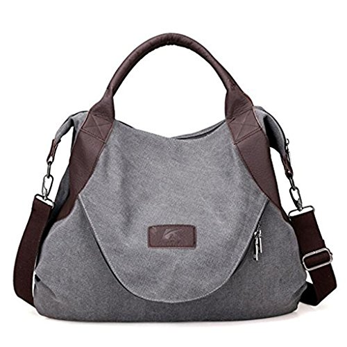 Tote Laptop Microsoft Ladies (xiaoxiongmao Large Pocket Casual Women's Shoulder Cross body Handbags Canvas Leather Bags Grey)