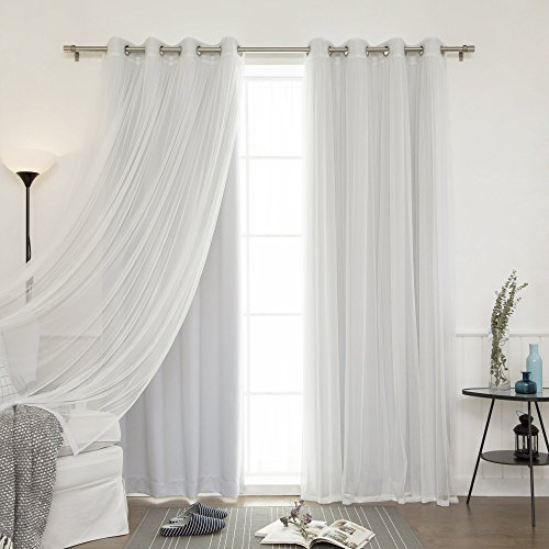 Best Home Fashion Mix & Match Tulle Sheer Lace and Blackout Curtain Set – Stainless Steel Nickel Grommet Top – Vapor – 52