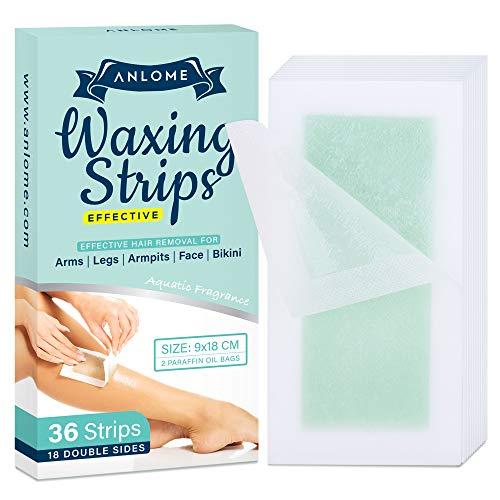 ANLOME Body Wax Strips for Face Legs Underarms Brazilian Bikini Women, Wax Hair Removal with 36 Strips