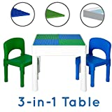 Play Platoon Kids Activity Table Set - 3 in 1 Water Table, Craft Table Building Brick Table Storage - Includes 2 Chairs 25 Jumbo Bricks - Blue & Green