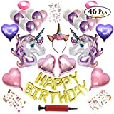 Unicorn Birthday Party Decorations 46 Pcs Set - Happy Birthday 16 Inch Letters Latex Balloons & Pink and Purple Foil Unicorns - Headband Blow Pipe Ribbons and Temporary Tattoos Party Supplies Decor