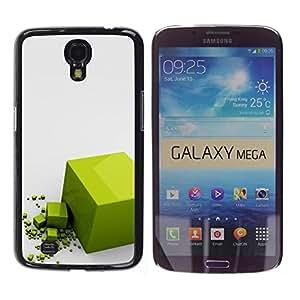 TopCaseStore / la caja del caucho duro de la cubierta de protección de la piel - Polygon Cube Reflective Gray - Samsung Galaxy Mega 6.3 I9200 SGH-i527