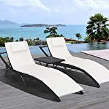 Homall 3 Pieces Patio Lounge Chair Pool Outdoor Adjustable Chaise Lounge Chair Patio Poolside Furniture Set Portable and Folding PE Rattan Furniture Set with Side Table Black(Adjustable 3 PE Rattan)
