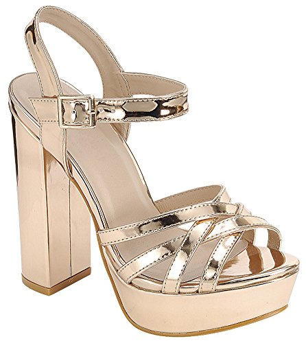Cambridge Select Womens Peep Toe Ankle Strappy Platform Chunky Wrapped Heel Sandal Rose Gold Q523n