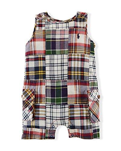 - Ralph Lauren Baby Boys' Patchwork Madras Shortall Size 3M Blue Multi