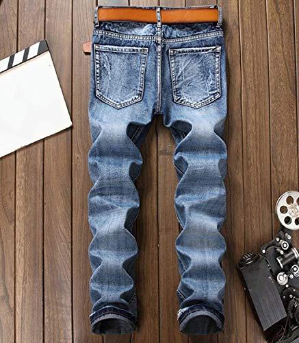 Pantaloni Da Uomo Strappati Used Jeans Lunghi Jogging Classiche Bermuda Retro Denim Laisla Ragazzi Fashion Look Colour XtIxwtO