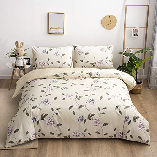 Softta Luxury Queen Size Vintage Shabby Rose Flower Leaves Farmhouse Bedding Sets 3Pcs Bohemia Peony Duvet /Quilt Cover Set Damask 100% Egyptian cotton Warm Yellow Bedding Collection Vine Flower