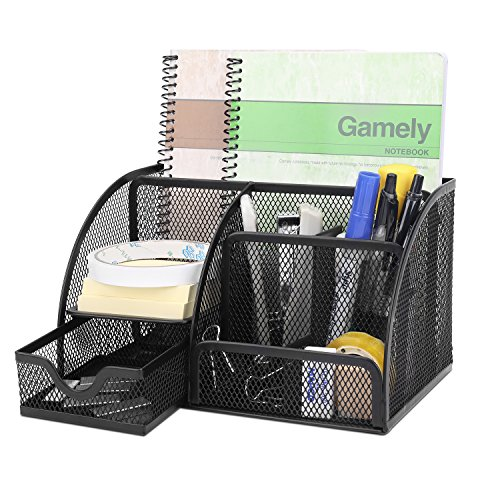 Flexzion Desk Organizer Office Supplies Accessories Desktop Tabletop Sorter Shelf Pencil Holder Caddy Set - Metal Mesh with Drawer and 6 Compartments (Pull Out Notebook Shelf)