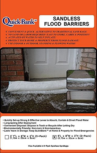 Sandless Flood Barrier - High Capacity, 9 Feet Length, 2-Pack