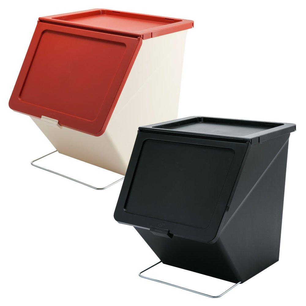 スタックストー ペリカン ガービー 38L 2個セット stacksto, pelican garbee ゴミ箱 ごみ箱 ダストボックス (レッド×ブラック) B01MUHLAYD レッド×ブラック レッド×ブラック