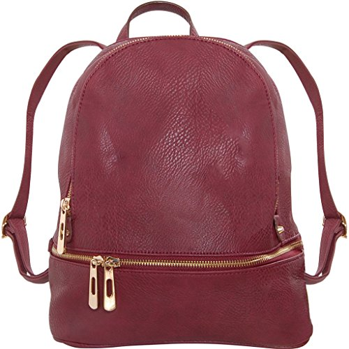 Humble Chic Vegan Leather Backpack Purse Small Fashion Travel School Bag Bookbag, Burgundy, Dark Red, Oxblood