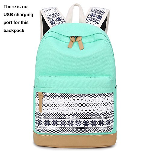 School Backpacks for Teen Girls Lightweight Canvas Backpack Bookbags Set (Light Green) by CAMTOP (Image #1)