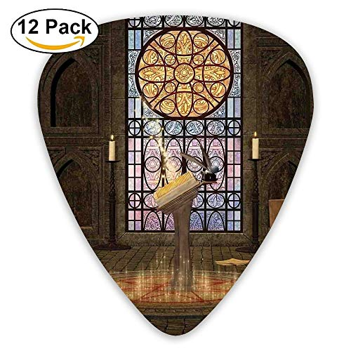 (Lectern On Pentagram Symbol Medieval Architecture Candlelight In Dark Spell Altar 3 Guitar Picks 12/Pack )